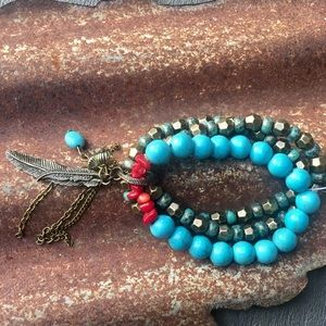Multi Layered Bracelet with Charms